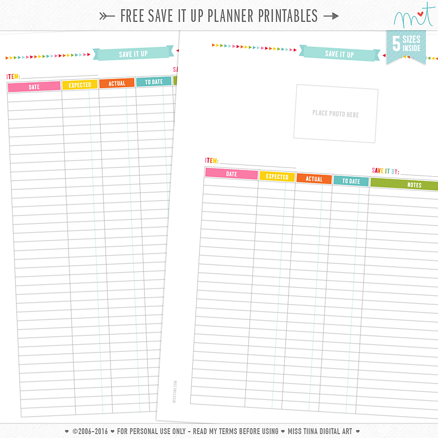 Free planner pages for Online planer