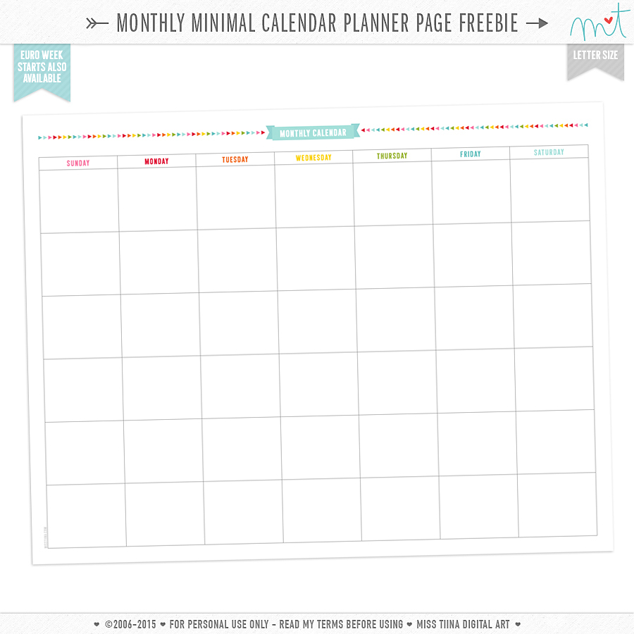 free monthly minimal calendar planner page printables. Black Bedroom Furniture Sets. Home Design Ideas