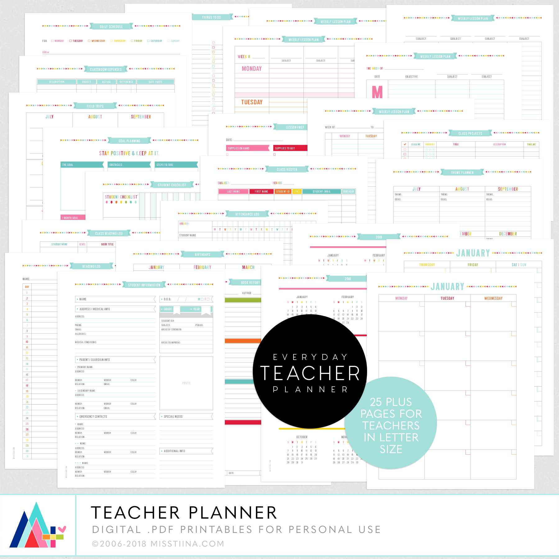 picture regarding Lesson Planner Printable identify Trainer Planner + 3 Clean Printable Planner Freebies