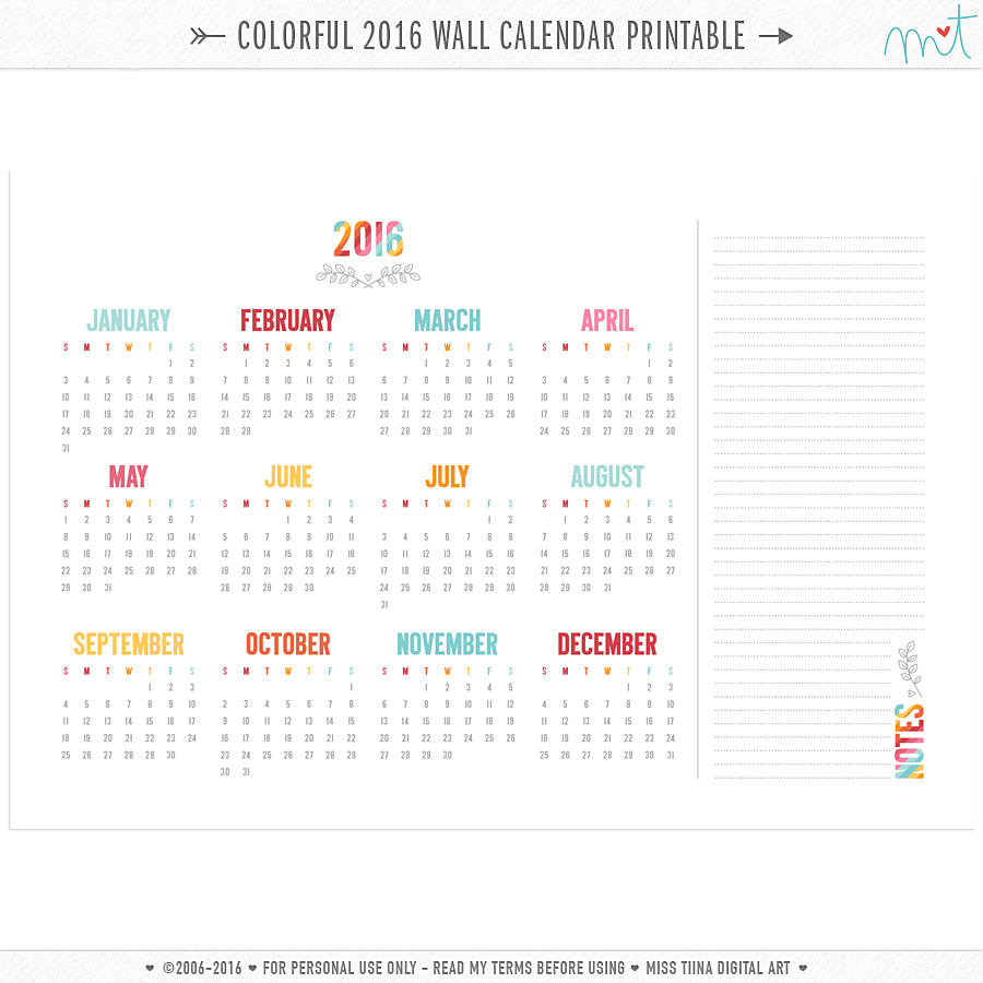 MissTiina-Colorful-2016-Calendar-Wall