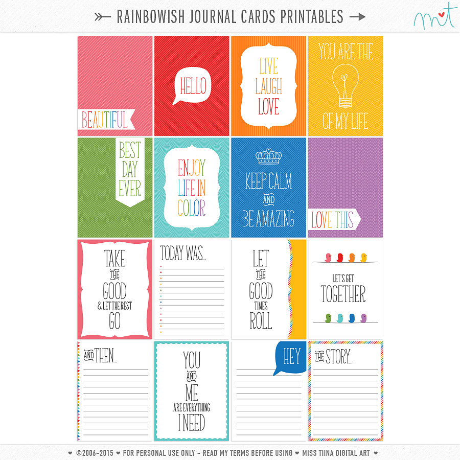 New CU + Free Printable Journal Cards
