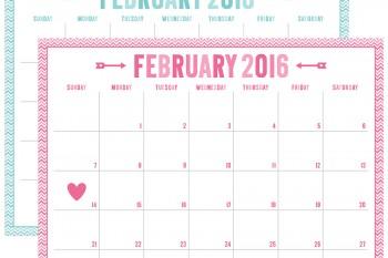 FREE 2016 Valentine Calendar Printables