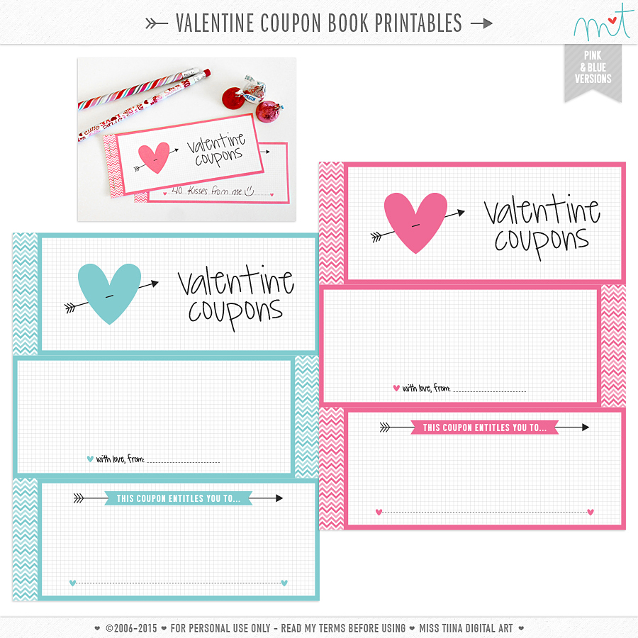 FREE {PRINTABLE} Valentine Coupon Book  Free Coupon Book Template