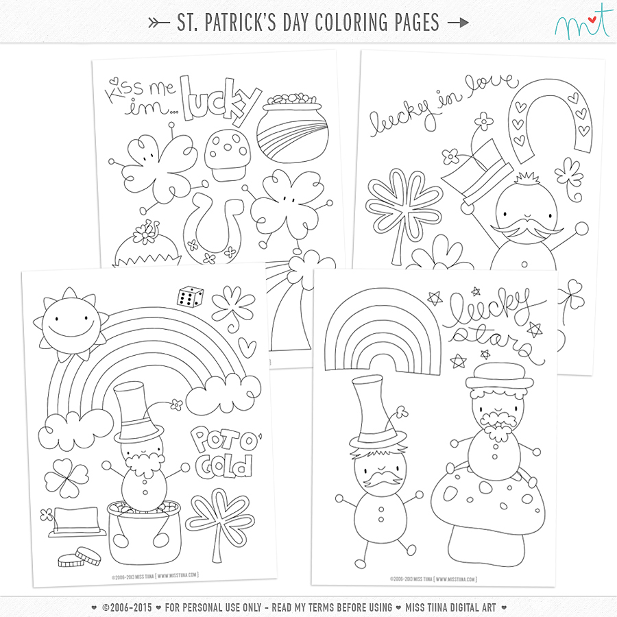 MissTiina St Patricks Day Coloring Pages free printables on free printable weekly time sheets