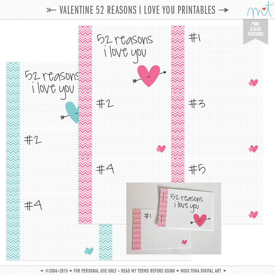 Free valentine 39 s printables for 52 reasons why i love you template powerpoint