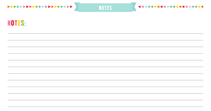 FREE Notes Planner Page Printable