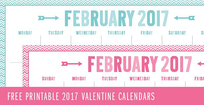 FREE 2017 Valentine Calendar Printables