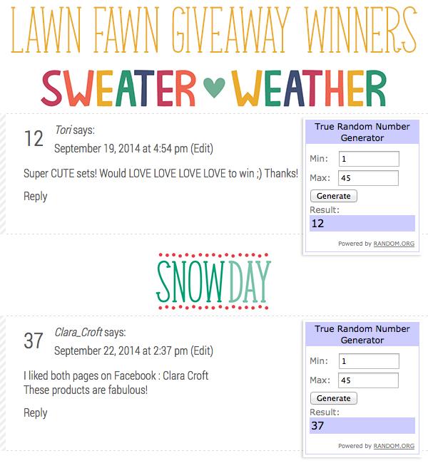 Lawn Fawn Giveaway Winners